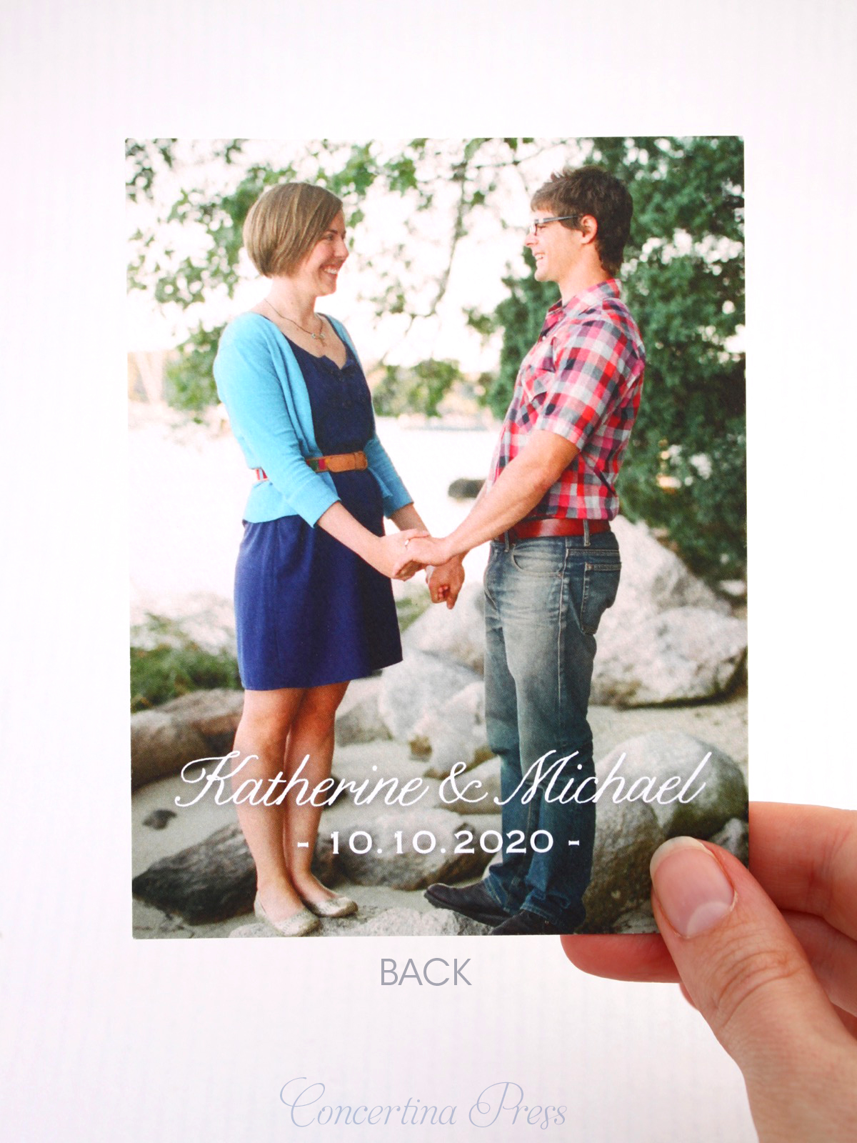 Nantucket Save the Dates with photo back from Concertina Press