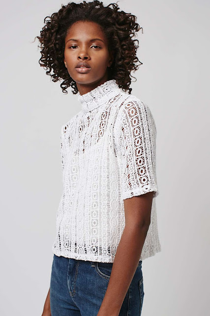 absence of colour white lace top, high neck white crochet top,