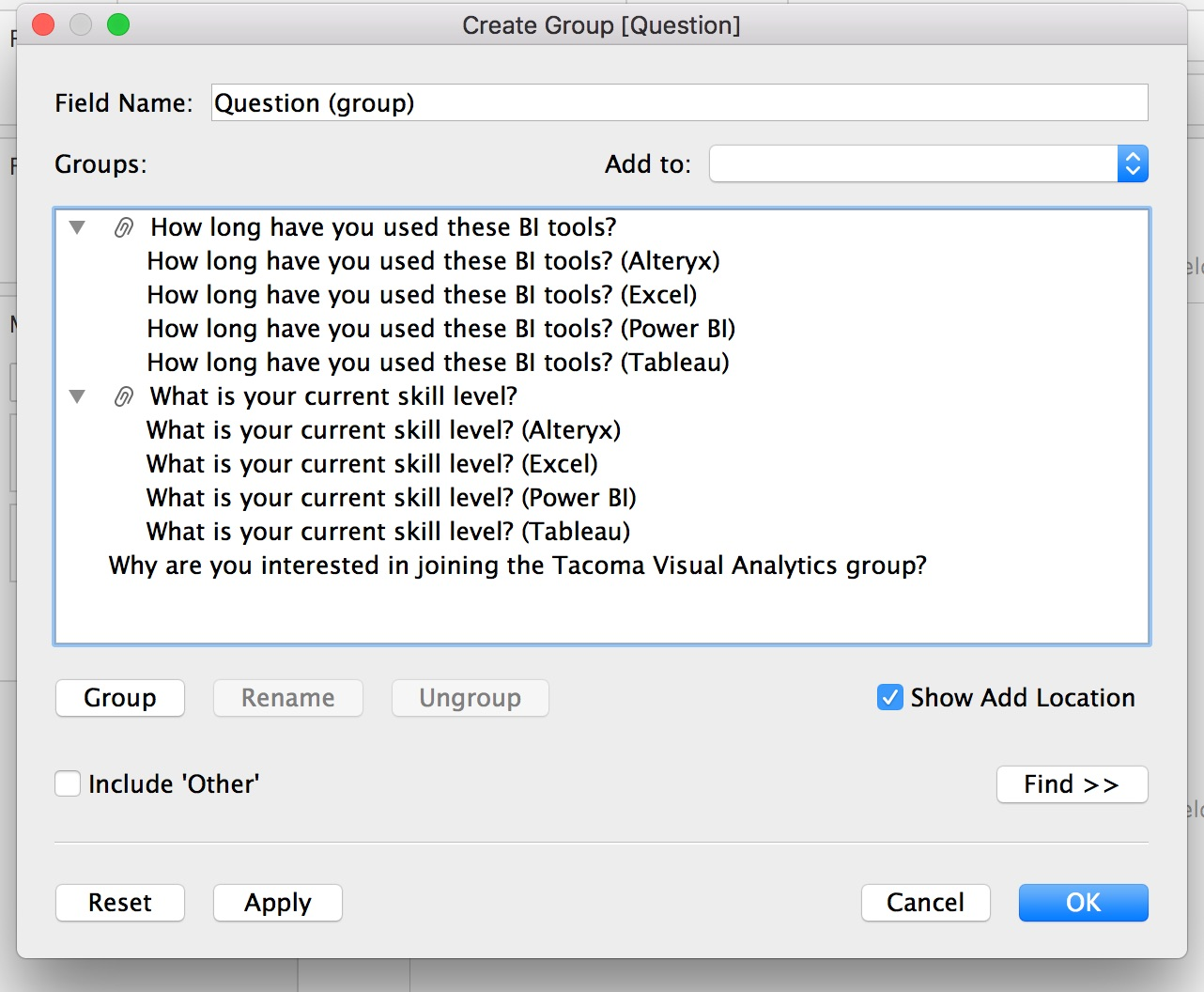 to address this we can use the create group feature in tableau to group the values into distinct questions