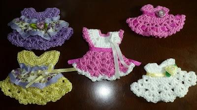 Vestidinhos de Crochê - Lembrancinha de Maternidade ou Chá de Fraldas