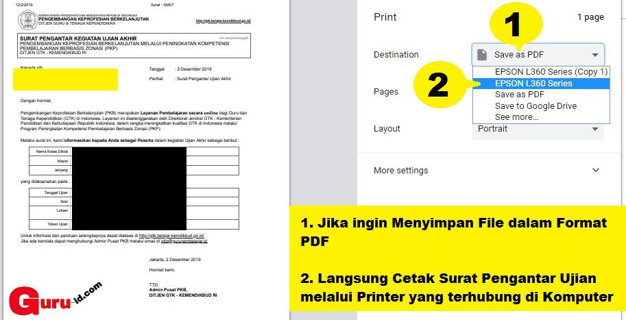 gambar cetak kartu ujian Peserta Post test PKP berbasis ZOnasi