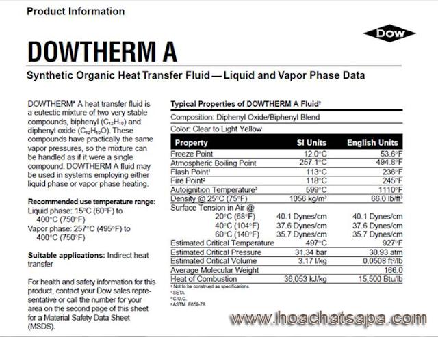 Hóa chất Dowtherm A mới của hãng Dow (Mỹ)