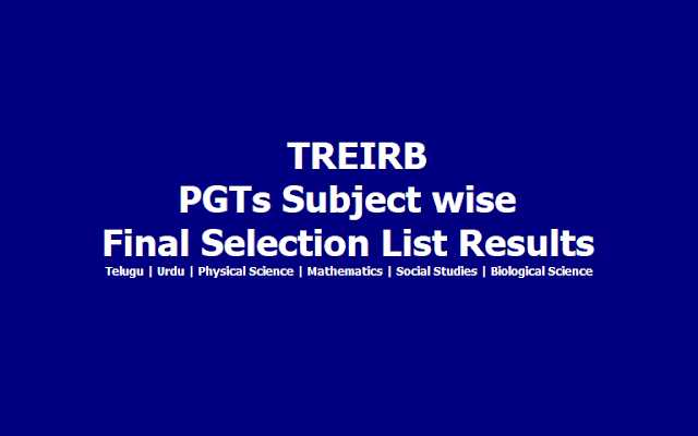 TREIRB PGT Final Selection List Results of English PGTs 2019