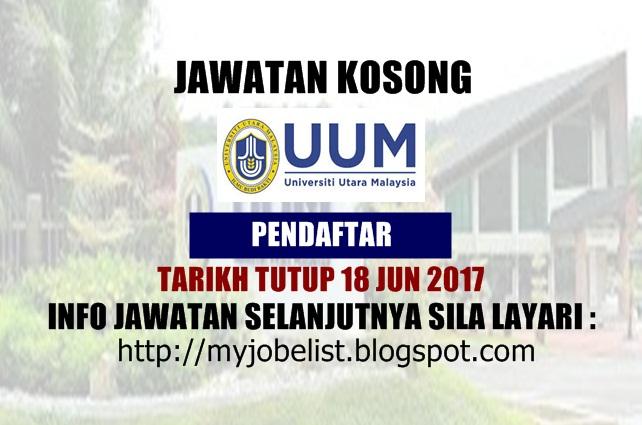 Jawatan Kosong di Universiti Utara Malaysia (UUM) Jun 2017