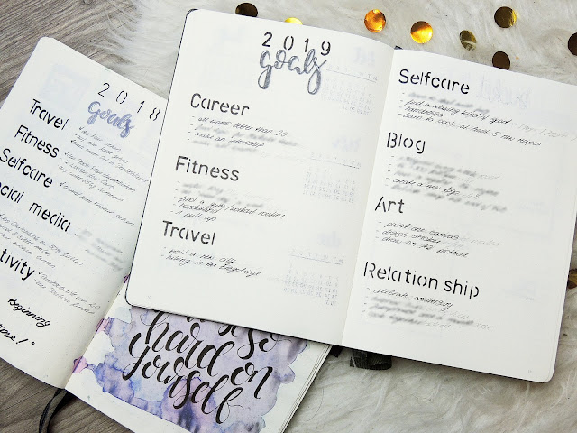 goals spread bullet journal glitter is the new black