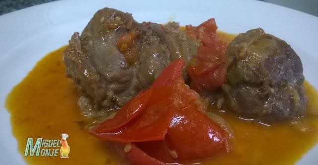 Carrilada de Cerdo al Tomate dulce Receta de Carne