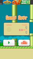 Flappy bird - scena z gry - ekran końcowy