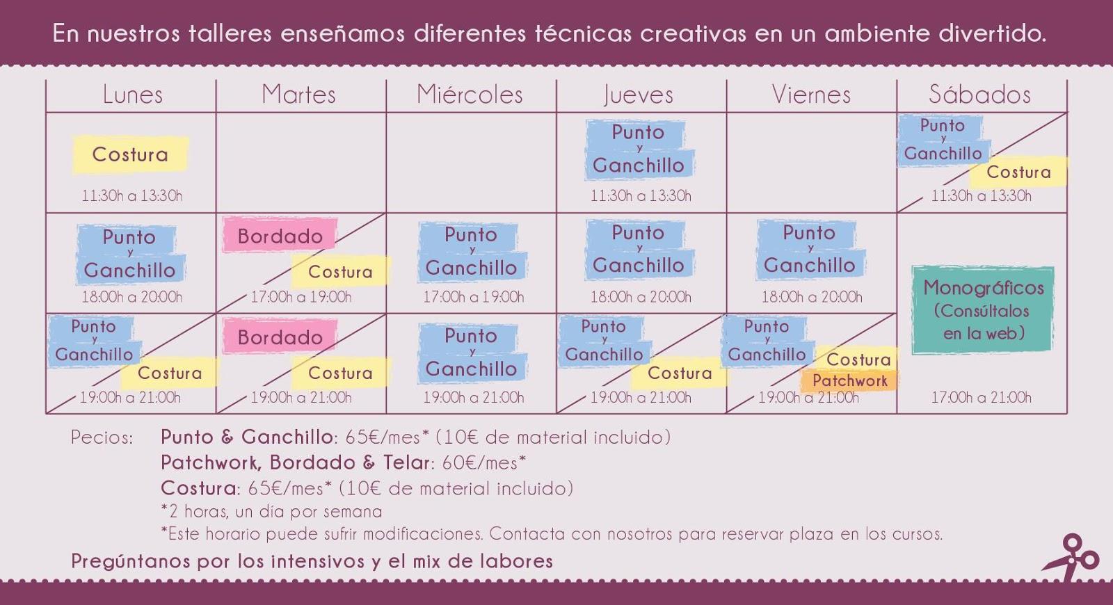 la laborteca: horario cursos