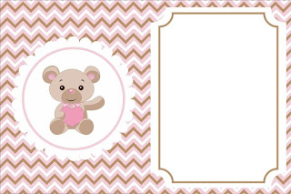 Para hacer invitaciones, tarjetas, marcos de fotos o etiquetas, para imprimir gratis de de Osito Bebé con Corazón Rosa.