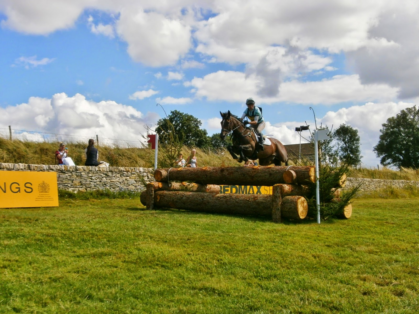 Horse and rider on cross country course at Gatcombe Festival of Eventing