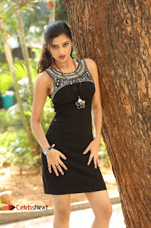 Actress Poojitha Pallavi Naidu Stills in Black Short Dress at Inkenti Nuvve Cheppu Movie Platinum Disc Function  0016.JPG