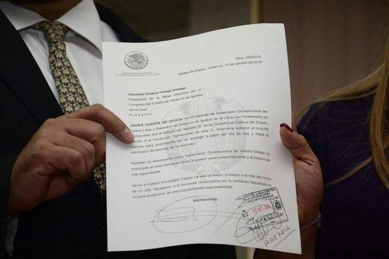 La licencia de Duarte, recibida por el congreso de Veracruz. FOTO: Cuartoscuro