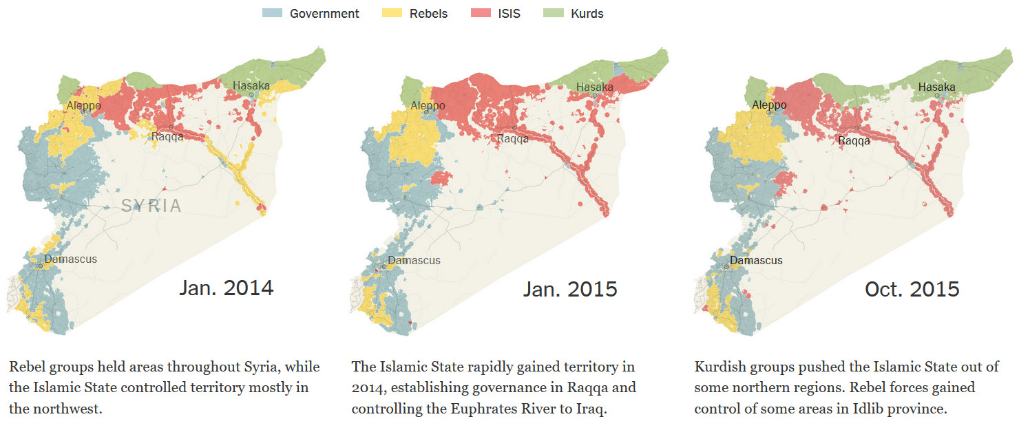 Control of Syria has become increasingly fractured in the past year