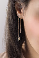 Rose gold threader earrings with white pearl drop