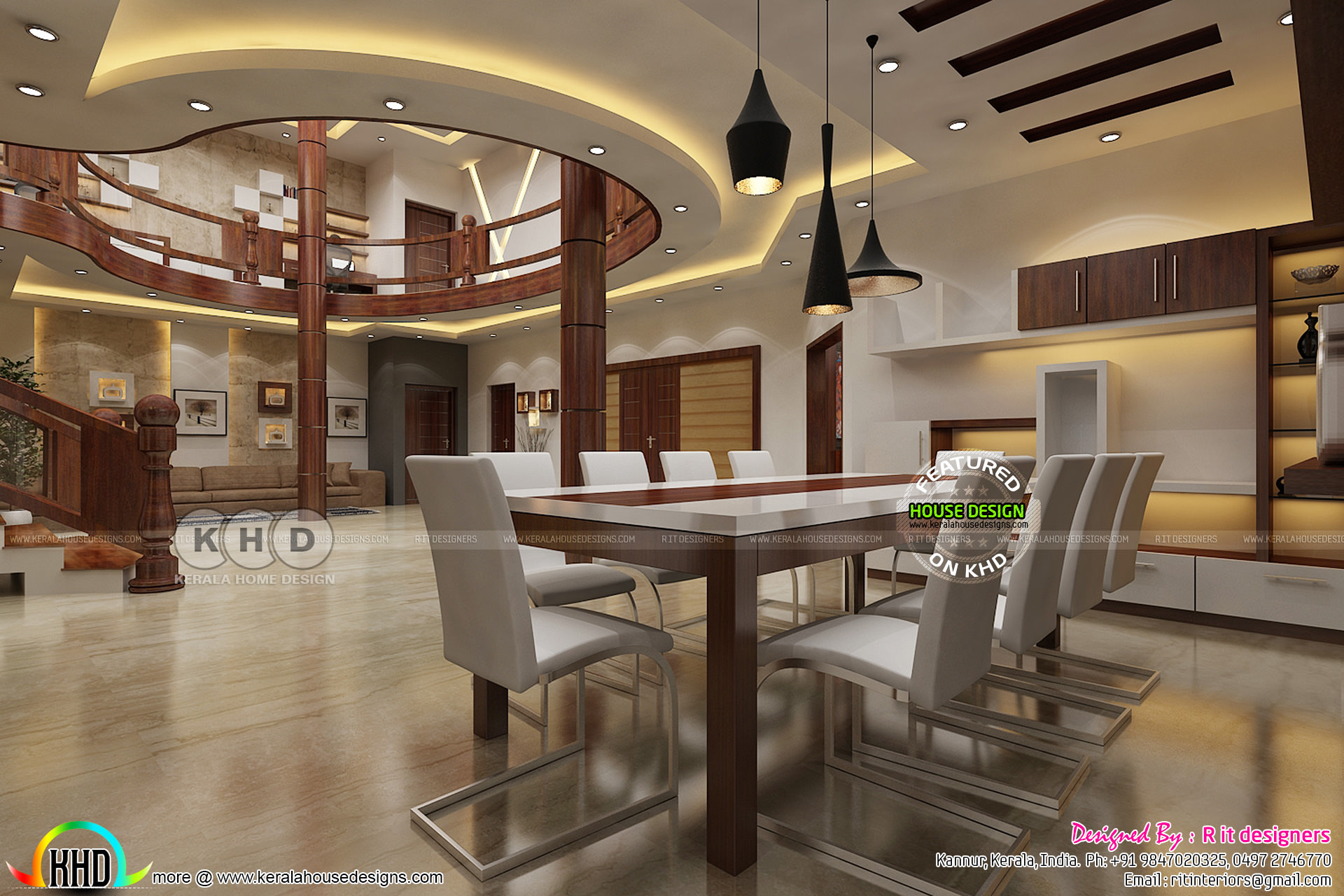 Dining area and living interior designs - Kerala home ...
