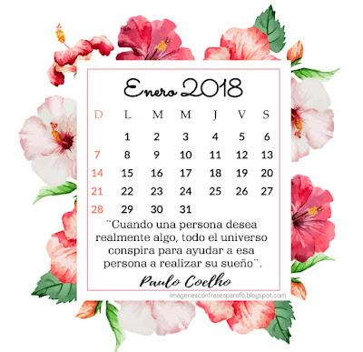 Calendario Enero 2018 con frases motivadoras