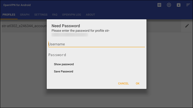 password della VPN android