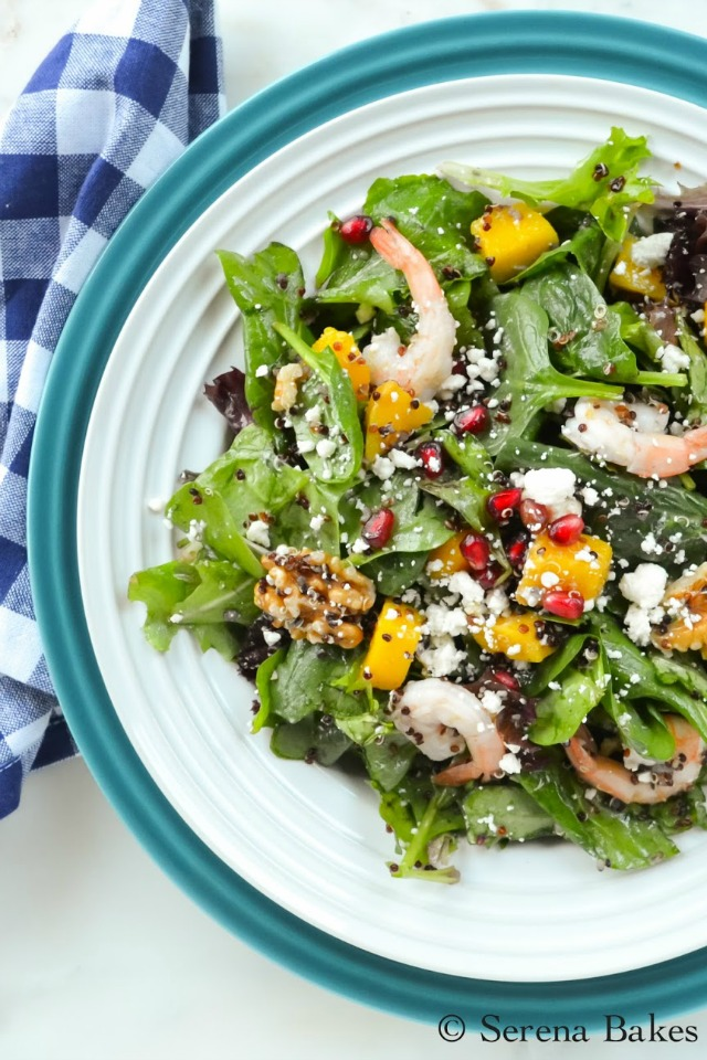 Quinoa Shrimp Pomegranate Spinach Salad with White Balsamic Vinaigrette from Serena Bakes Simply From Scratch.