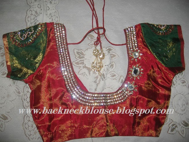 stone work designer back blouse