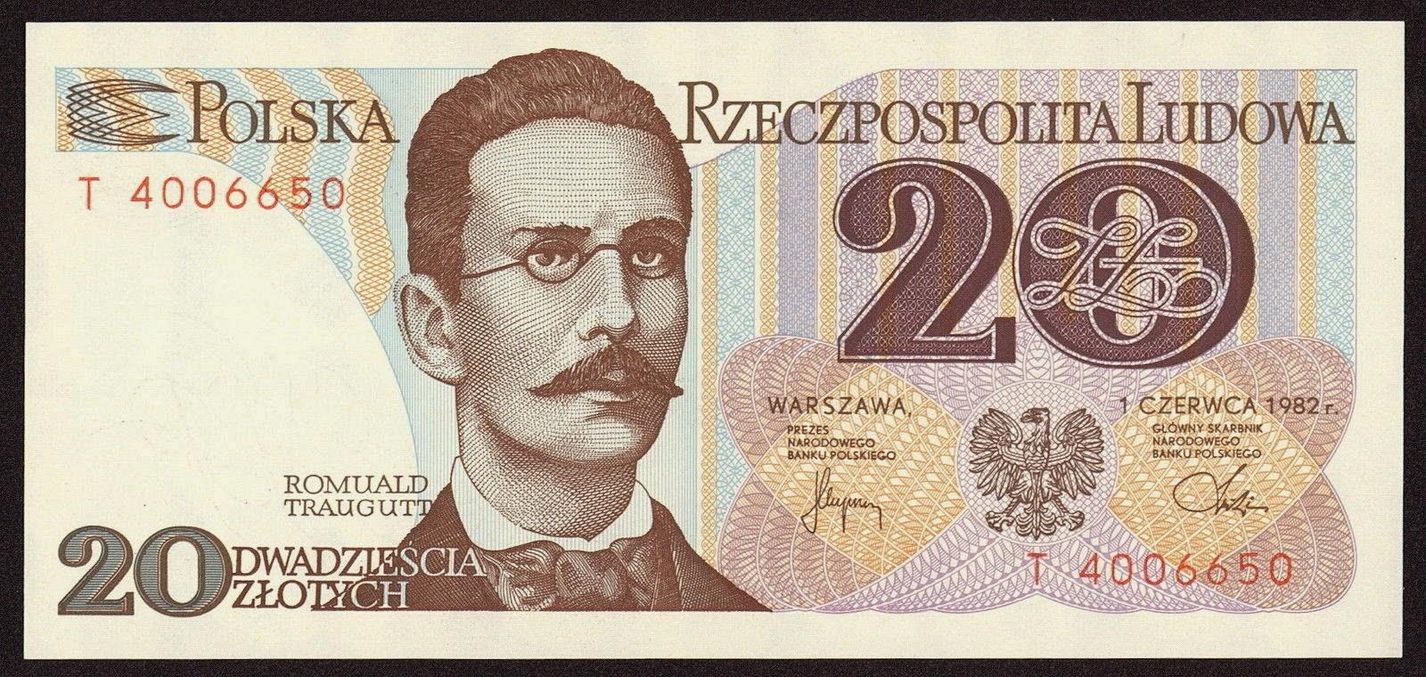 Poland Banknotes 20 Zloty banknote 1982 Romuald Traugutt
