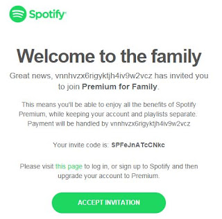 Accept email for spotify premium faimly
