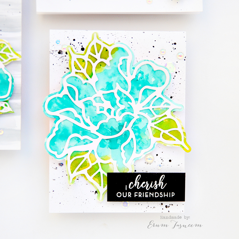 Spellbinders Good Vibes Only by Stephanie Low | Flowers Whisper Etched Dies | Watercolor Cards by Erum Tasneem | @pr0digy0