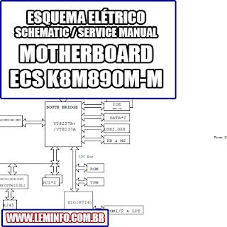 Esquema Elétrico Placa Mãe / Motherboard ECS K8M890M-M Manual de Serviço  Service Manual schematic Diagram Placa Mãe / Motherboard K8M890M-M    Esquematico Placa Mãe / Motherboard K8M890M M