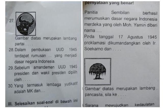 Waduh, Muncul Logo PDIP dalam Soal Ujian Akhir Semester SD di Bogor