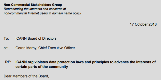 NCSG Letter to ICANN Board of Directors and ICANN CEO