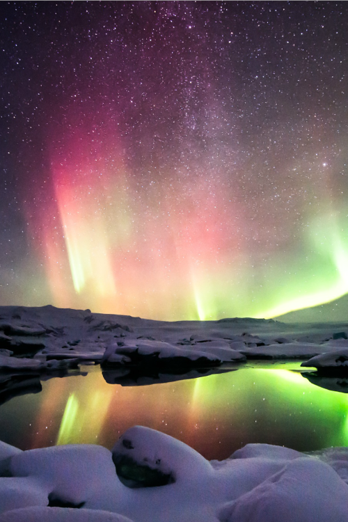 When the Aurora was dancing in two tone over Jokulsarlon, Iceland