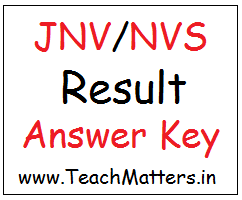 image : JNV NVS Result & Answer Key @ TeachMatters