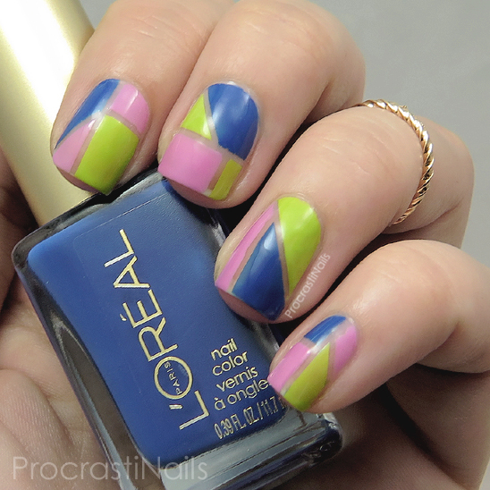 Color blocking nail art with L'Oreal Nail Color New Money, Butterfly Kisses and Jet Set to Paris