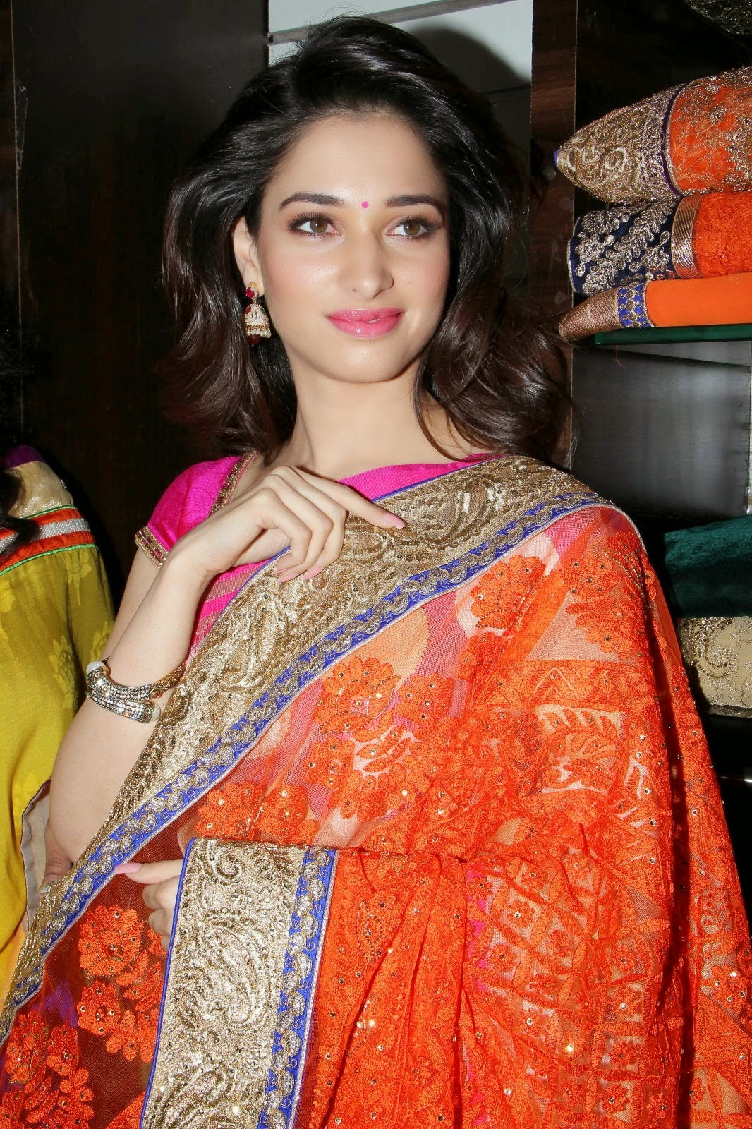 Tamanna Saree Gulte: Tamanna Latest Photos In Pink Saree At Trisha A Trendy