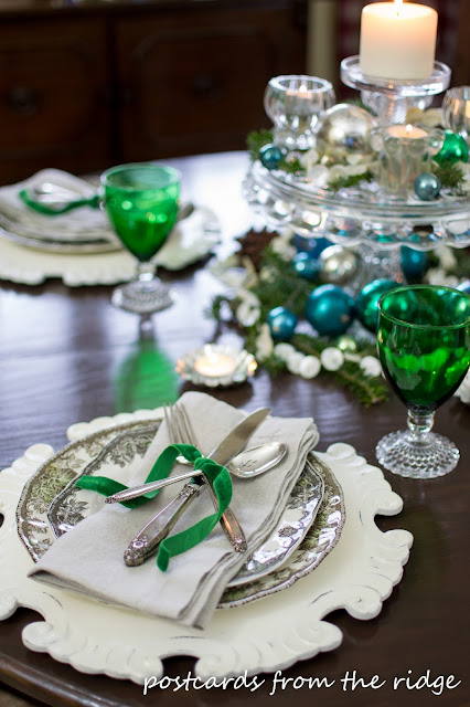 Vintage themed Christmas tablescape. Lots of other great Christmas decorating ideas on this site.