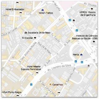 Mapa com a Localização da Escadaria 24 de Maio, Centro Histórico de Porto Alegre