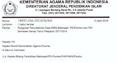 Surat Pengantar Pemutakhiran Data Emis Madrasah, PD-Pontren Dan PAI Semester Genap Tahun 2017/2018