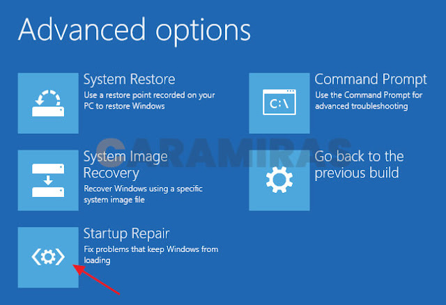 Memperbaiki Masalah Bootloader di Windows - startup repair