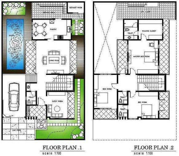 Denah Rumah Minimalis 2 Lantai Dan Kolam Renang