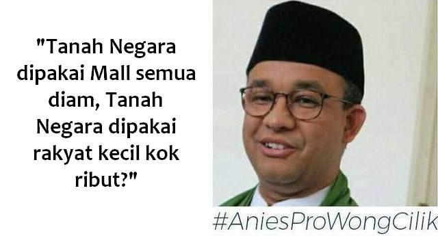 Jawaban cerdas Anies: Tanah Negara dipakai Mal semua diam, Tanah Negara dipakai rakyat kecil kok ribut?