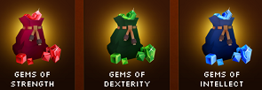 Gems of Strength Dexterity and Intellect