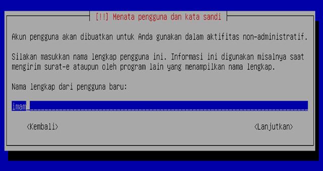 Instalasi Debian - Memasukan nama lengkap pengguna