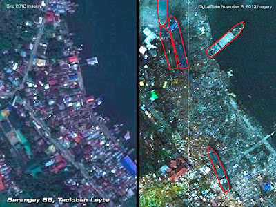 Barangay 68 Tacloban Leyte Philippines Yolanda Haiyan Disaster. Satellite Imagery