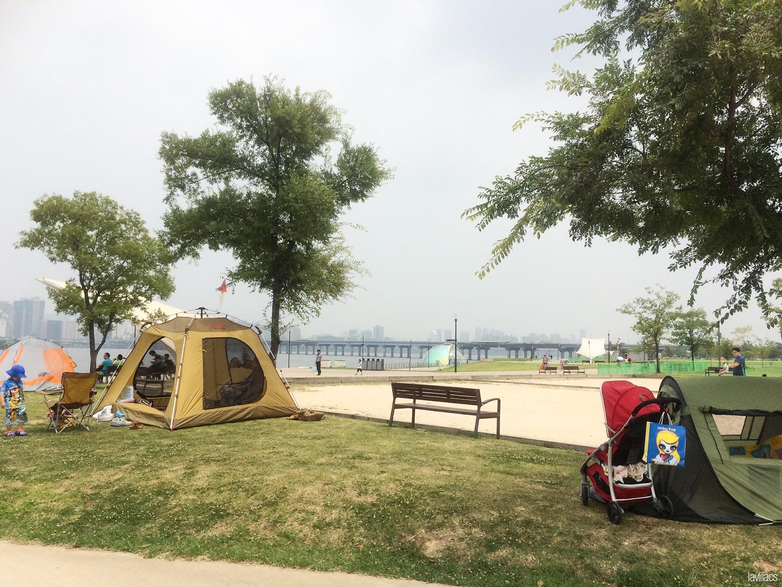 Seoul, Korea - Summer Study Abroad 2014 - Yeouido Park - Han River - camping