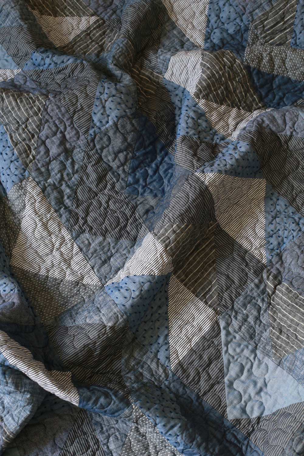 Chambray Flying Geese Quilt