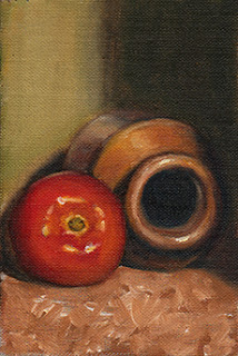 Oil painting of a tomato beside an earthenware jar on its side.