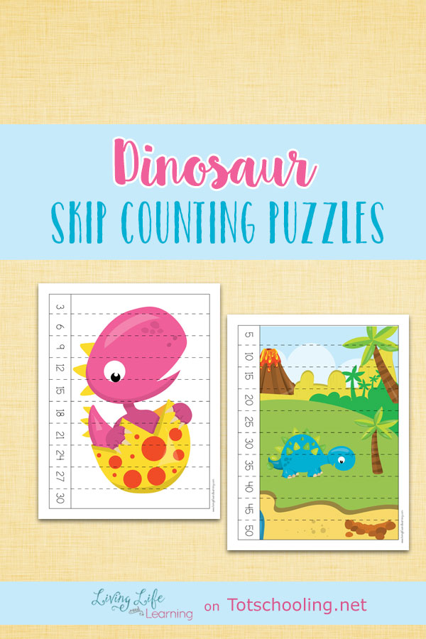 FREE Dinosaur themed Skip Counting Puzzles perfect for kindergarten math practice. Fun hands-on number learning with dinosaurs!