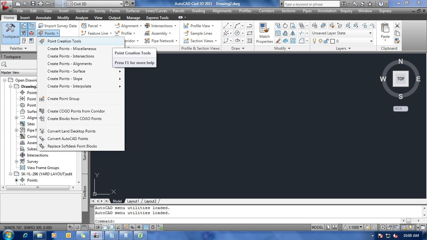 Linux , Java & Surveyor Activities: Autocad Civil 3D 2011 - Import