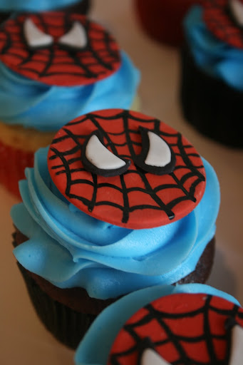And everything sweet spiderman cupcakes for Spiderman template for cake