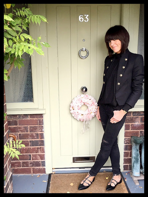 My Midlife Fashion, Military Jacket, Zara studded flats, distressed denim, chiffon blouse