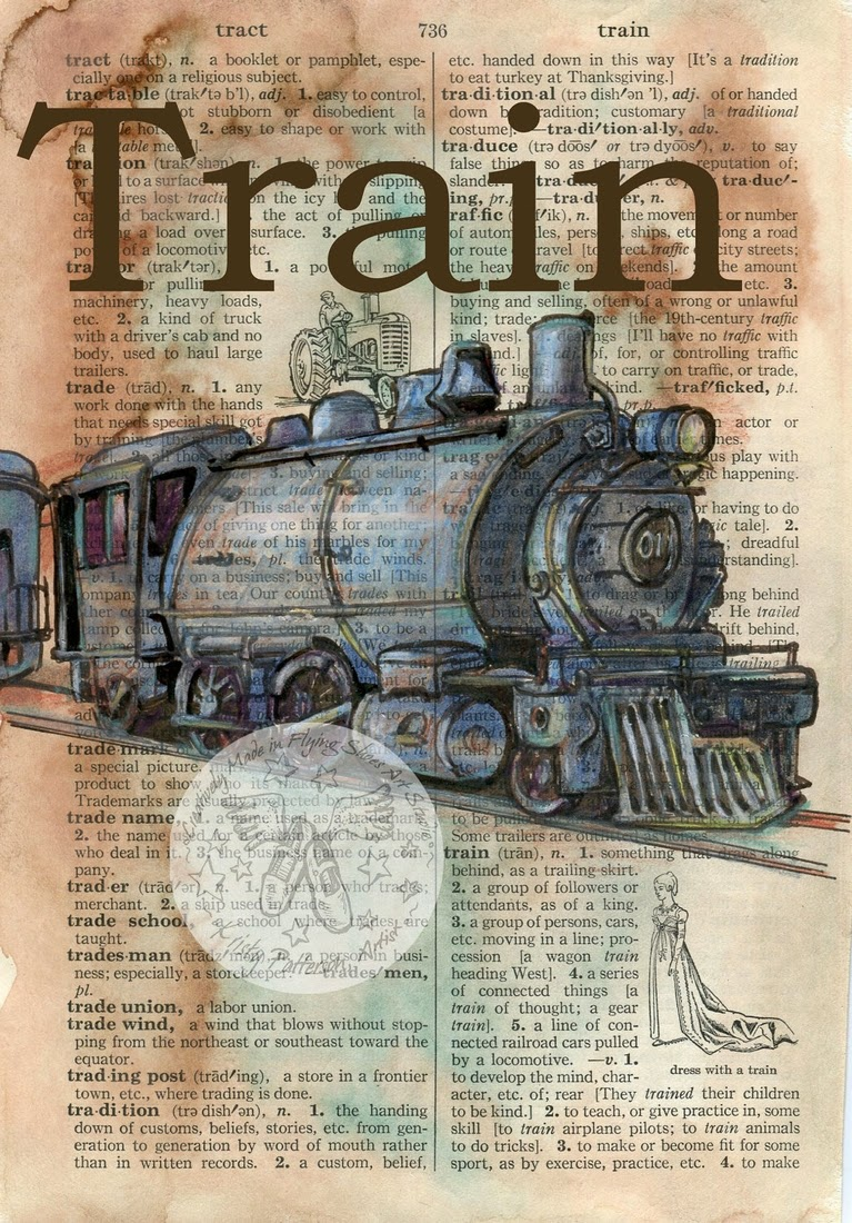 08-Vintage-Train-Kristy-Patterson-Flying-Shoes-Art-Studio-Dictionary-Drawings-www-designstack-co
